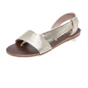 Free People Metallic Leather Thong Sandals Size 39